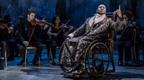 Lucian Msamati as Salieri with the Southbank Sinfonia. Photo by Marc Brenner.